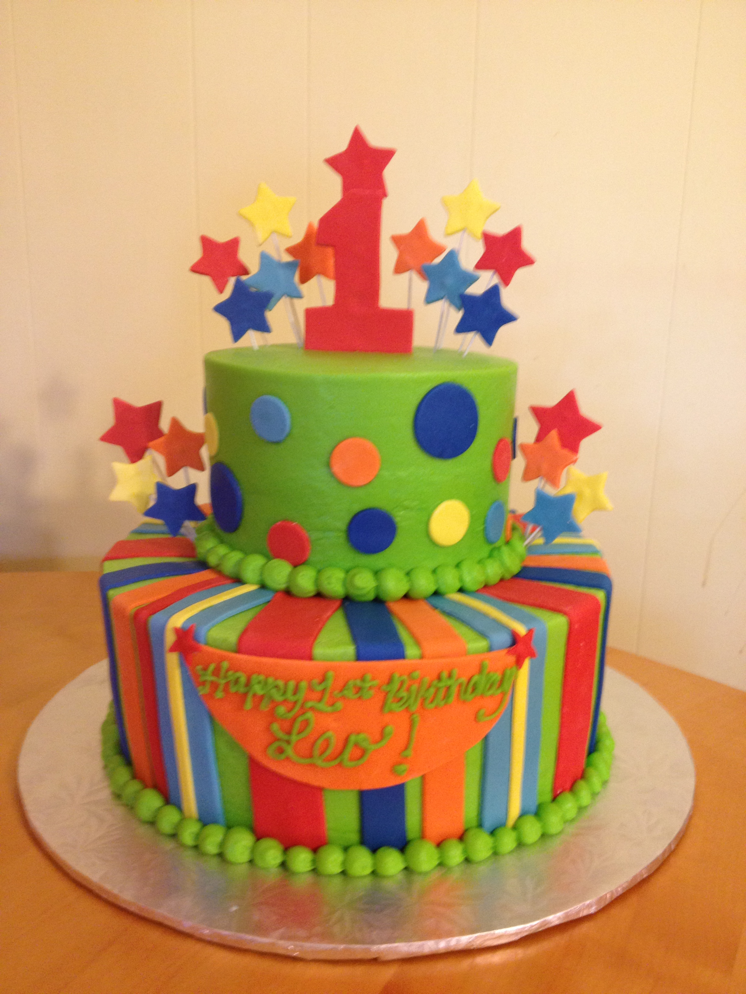 Polka Dots & Stripes 1st Birthday Cake Main Made Custom ...